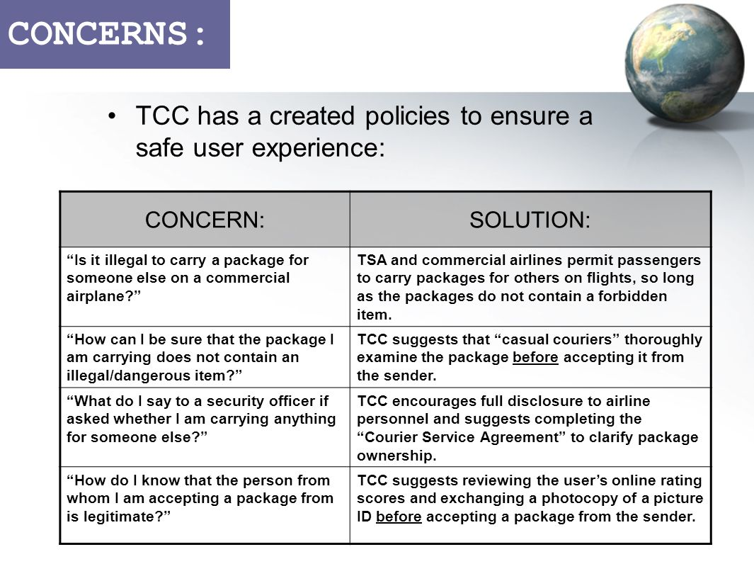 CONCERNS: TCC has a created policies to ensure a safe user experience: CONCERN:SOLUTION: Is it illegal to carry a package for someone else on a commercial airplane.