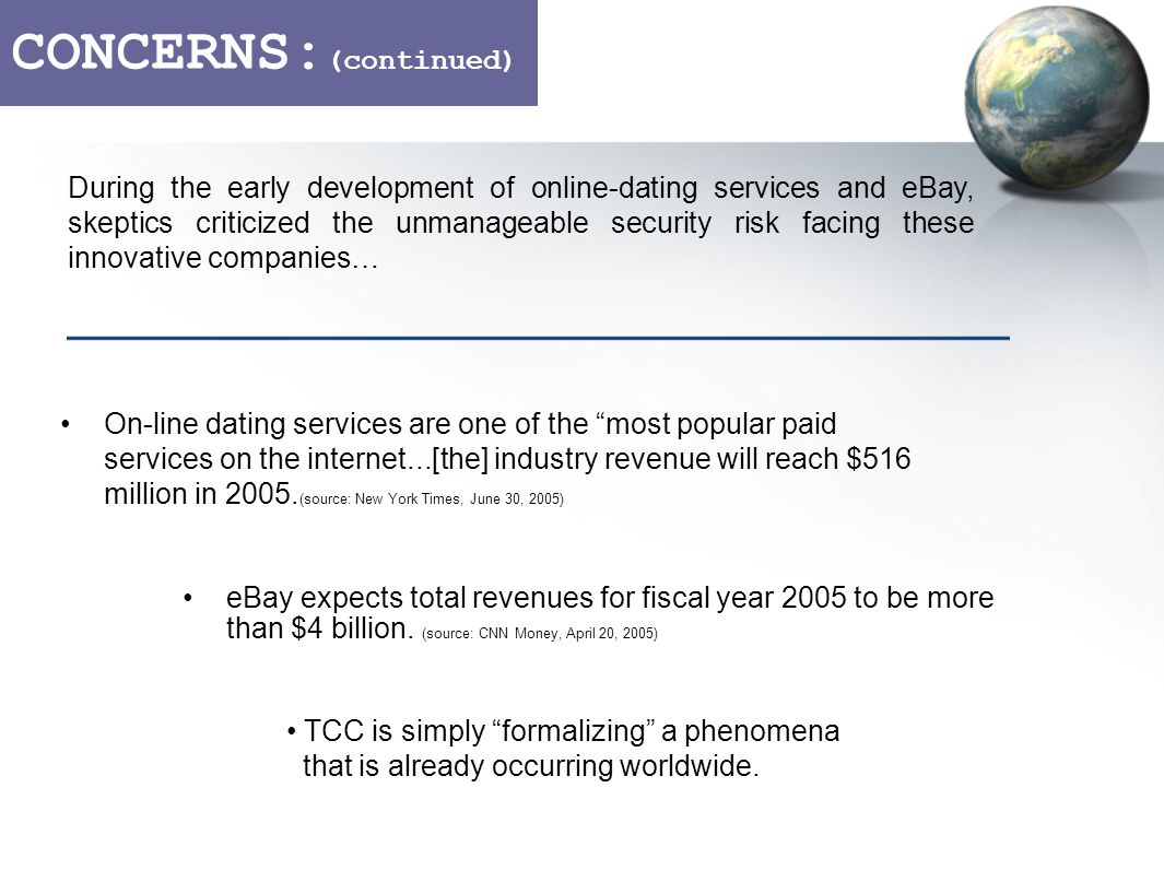 CONCERNS: (continued) On-line dating services are one of the most popular paid services on the internet...[the] industry revenue will reach $516 million in 2005.
