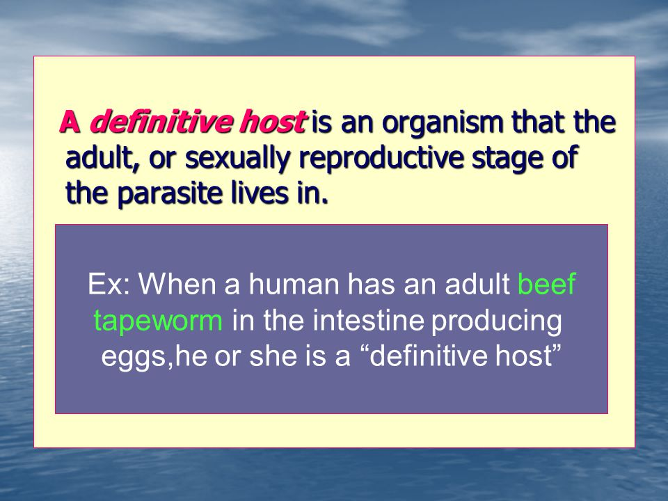 A definitive host is an organism that the adult, or sexually reproductive stage of the parasite lives in. A definitive host is an organism that the ad