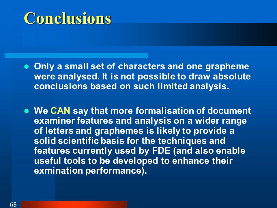 68Conclusions Only a small set of characters and one grapheme were analysed.