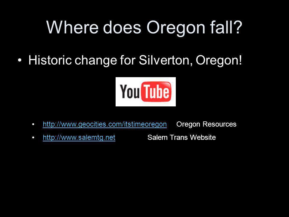 Where does Oregon fall.Historic change for Silverton, Oregon.