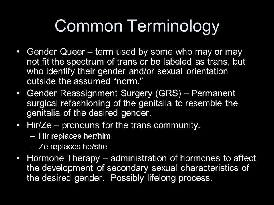 Common Terminology Gender Queer – term used by some who may or may not fit the spectrum of trans or be labeled as trans, but who identify their gender and/or sexual orientation outside the assumed norm.