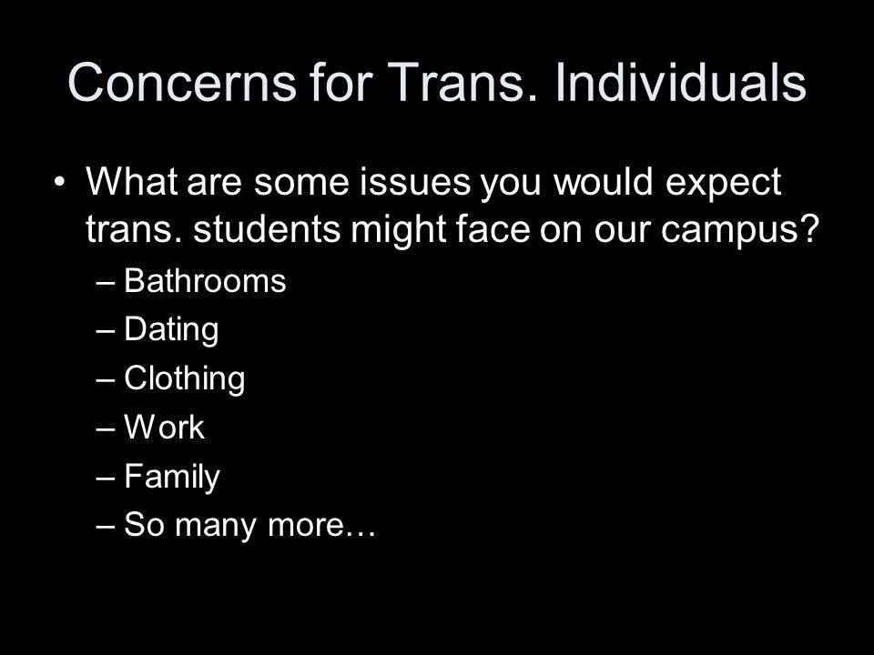 Concerns for Trans.Individuals What are some issues you would expect trans.
