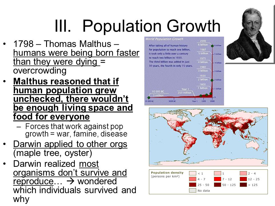 III. Population Growth 1798 – Thomas Malthus – humans were being born faster than they were dying = overcrowding Malthus reasoned that if human popula