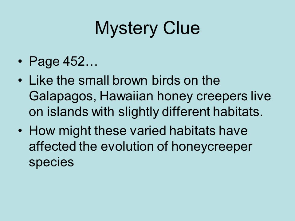 Mystery Clue Page 452… Like the small brown birds on the Galapagos, Hawaiian honey creepers live on islands with slightly different habitats. How migh