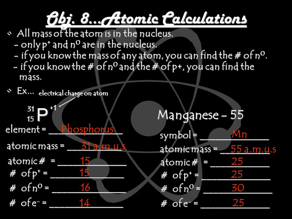Obj. 8…Atomic Calculations All mass of the atom is in the nucleus.