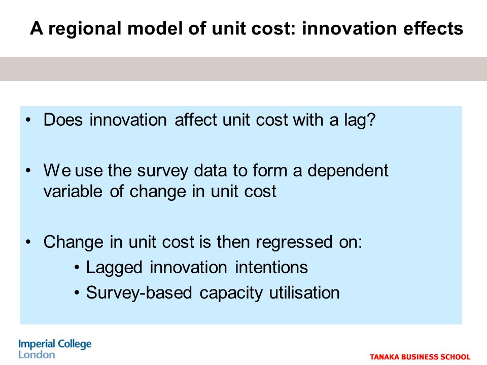 Does innovation affect unit cost with a lag.