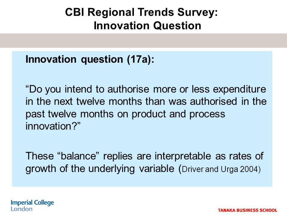 Innovation question (17a): Do you intend to authorise more or less expenditure in the next twelve months than was authorised in the past twelve months on product and process innovation.