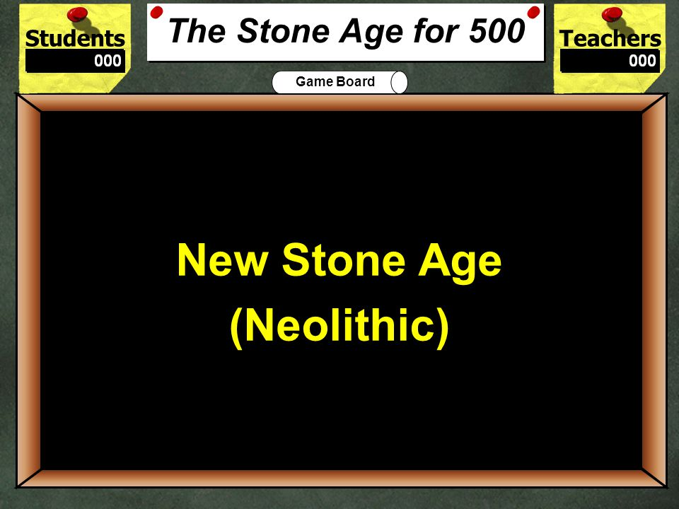StudentsTeachers Game Board People became scavengers, herders, farmers, or producers during the Paleolithic or Neolithic Age? 400 Neolithic The Stone