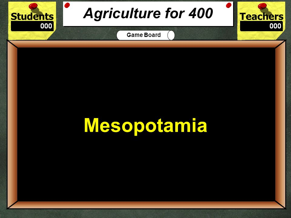 StudentsTeachers Game Board Name one crop of early man. 300 Wheat, potatoes, rice or maize Agriculture for 300