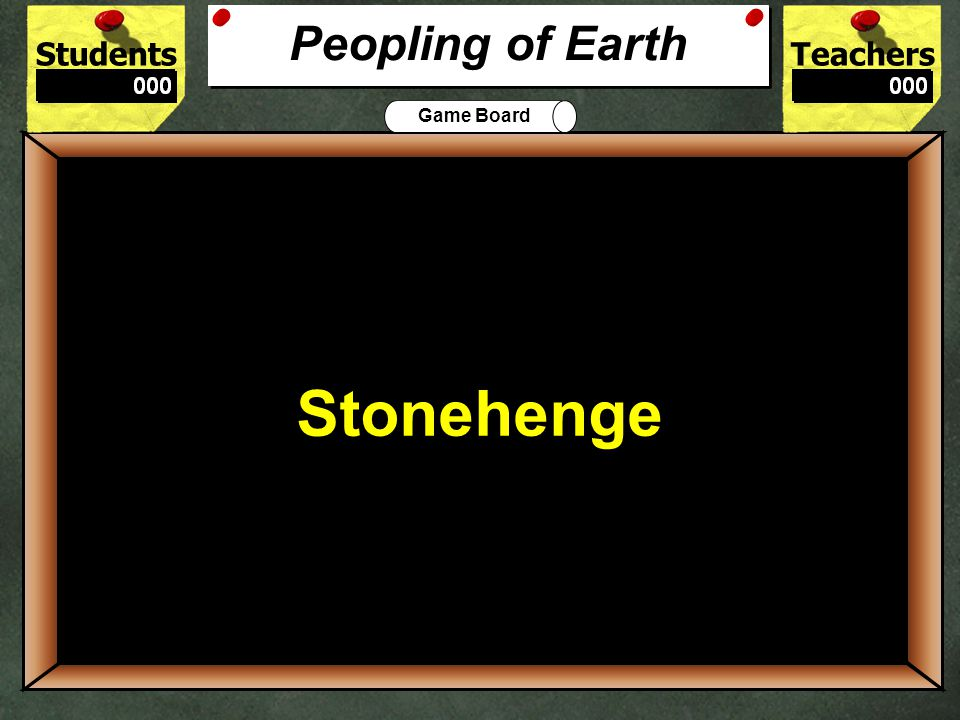 StudentsTeachers Game Board Which age is characterized by the creation of pottery? 500 Mesolithic Age Ages for 500