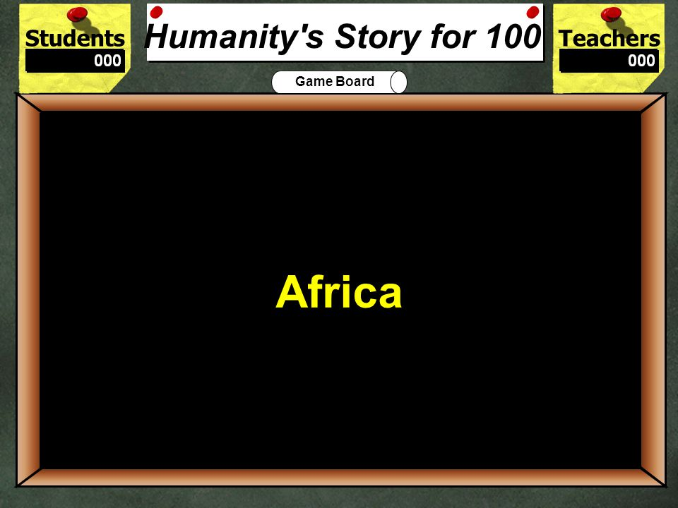 StudentsTeachers Game Board Humanitys Story The Stone Age AgricultureAges Peopling of Earth 100 200 300 400 500 Lets Play Final Challenge