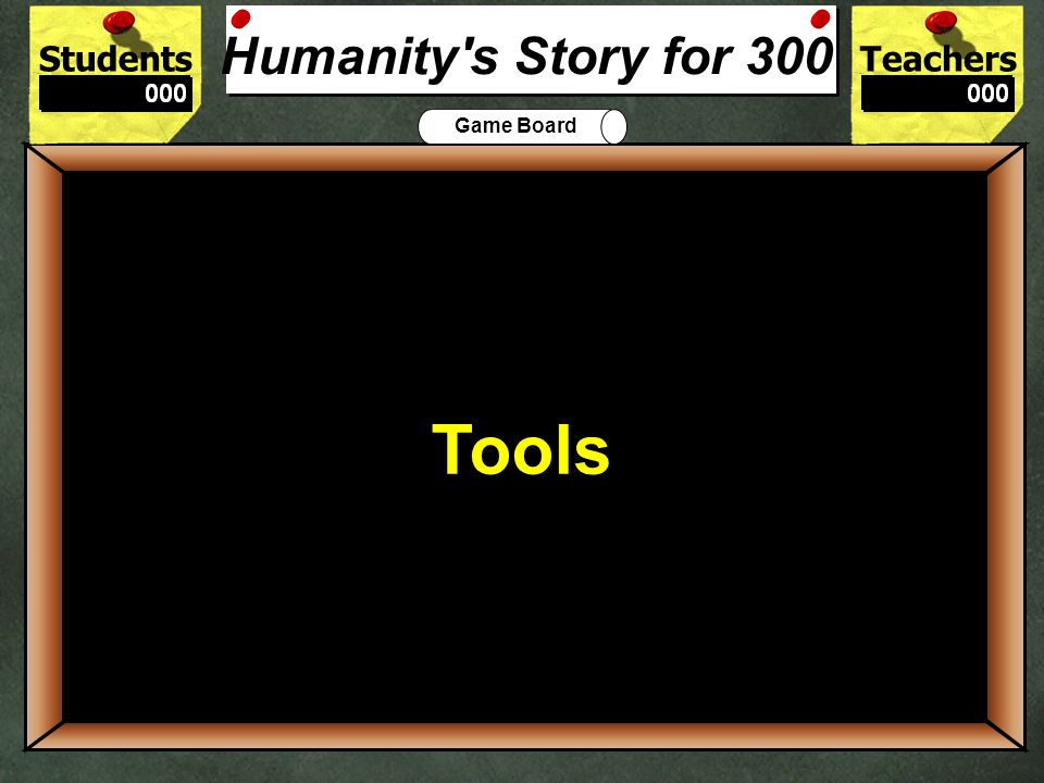 StudentsTeachers Game Board What did our early ancestors begin to do hundreds of thousands of years ago? 200 Form Tools Humanity's Story for 200
