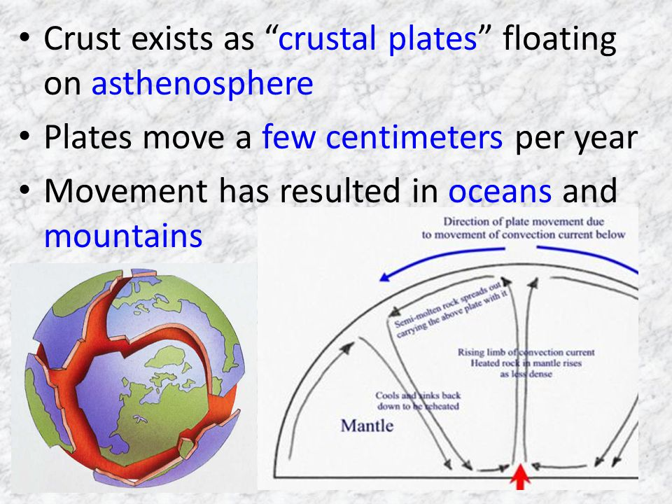 Crust exists as crustal plates floating on asthenosphere Plates move a few centimeters per year Movement has resulted in oceans and mountains