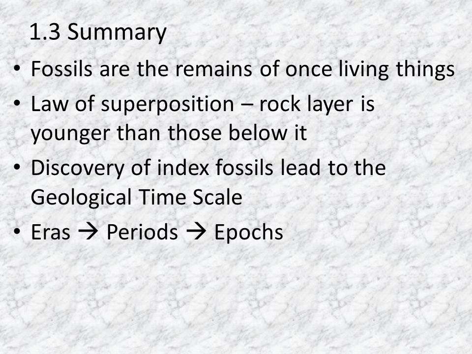 1.3 Summary Fossils are the remains of once living things Law of superposition – rock layer is younger than those below it Discovery of index fossils lead to the Geological Time Scale Eras Periods Epochs
