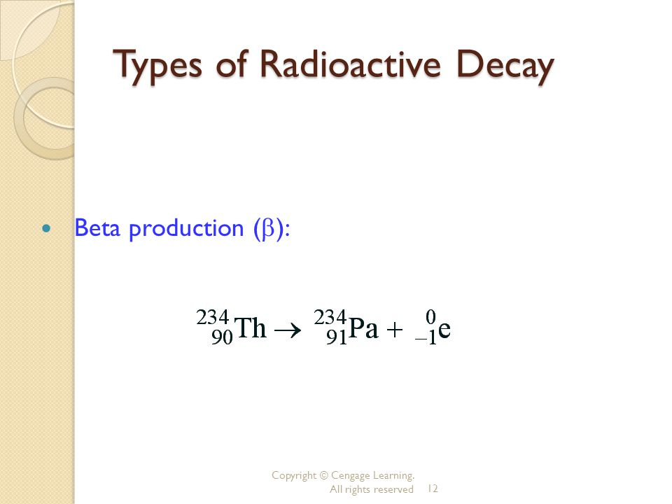 Copyright © Cengage Learning. All rights reserved12 Types of Radioactive Decay Beta production ( ):
