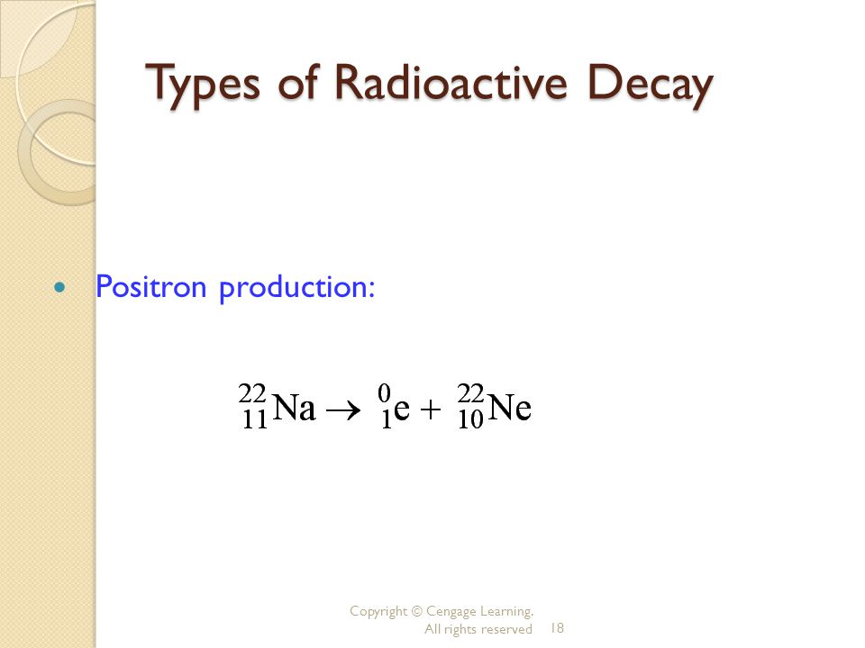 Copyright © Cengage Learning. All rights reserved18 Types of Radioactive Decay Positron production: