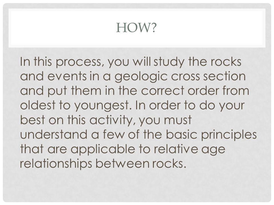 HOW? In this process, you will study the rocks and events in a geologic cross section and put them in the correct order from oldest to youngest. In or