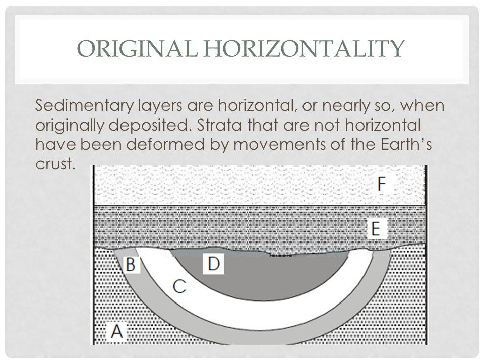 ORIGINAL HORIZONTALITY Sedimentary layers are horizontal, or nearly so, when originally deposited.