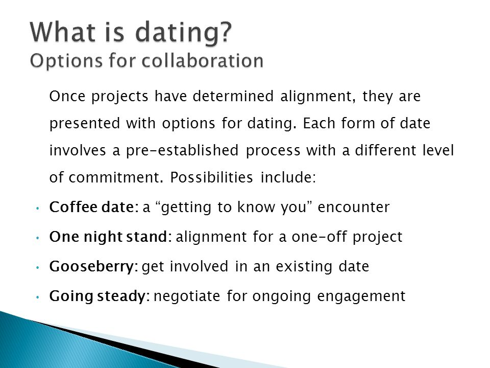 Once projects have determined alignment, they are presented with options for dating. Each form of date involves a pre-established process with a diffe