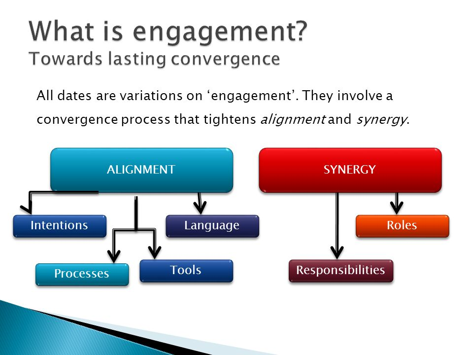 ALIGNMENT SYNERGY Intentions Language Processes Tools Roles Responsibilities All dates are variations on engagement. They involve a convergence proces