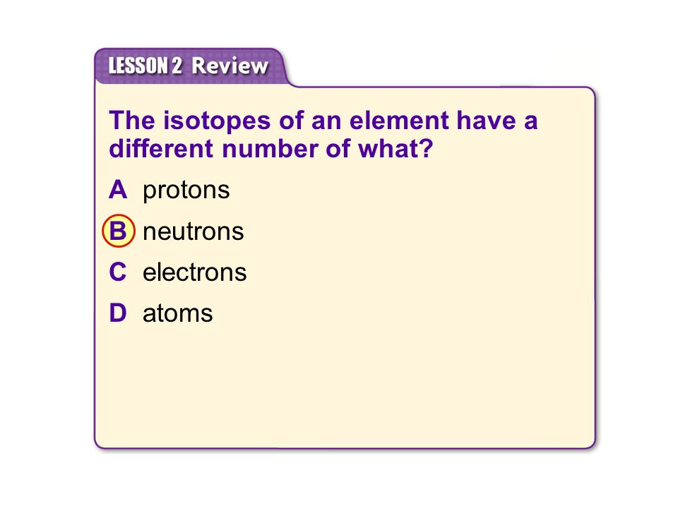 The isotopes of an element have a different number of what.
