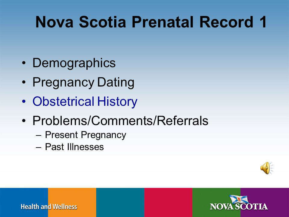 Pregnancy Dating Dating: LMP (last menstrual period) –Certainty of dates, regular cycle –Naegles rule: June 8 th, 2011 + 7 days = June 15 th, - 3 months = March 15 th 2012 EDB Ultrasound (SOGC) –1 st trimester ultrasound between 11 and 14 weeks –Use 1 st trimester U/S If > 5 days difference between U/S and LMP –Use 2 nd trimester U/S if > 10 days difference between U/S and LMP –Gestational age should be determined by the earliest ultrasound http://www.sogc.org/guidelines/documents/gui214CPG0809.pdf
