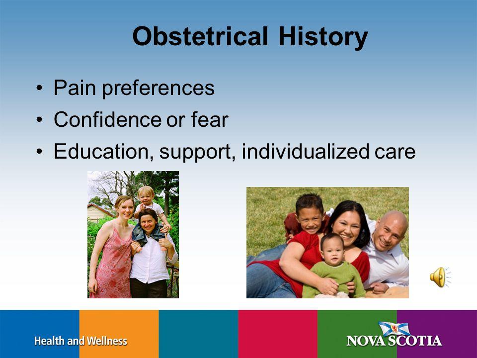 Nova Scotia Prenatal Record 1 Demographics Pregnancy Dating Obstetrical History Problems/Comments/Referrals –Present Pregnancy –Past Illnesses