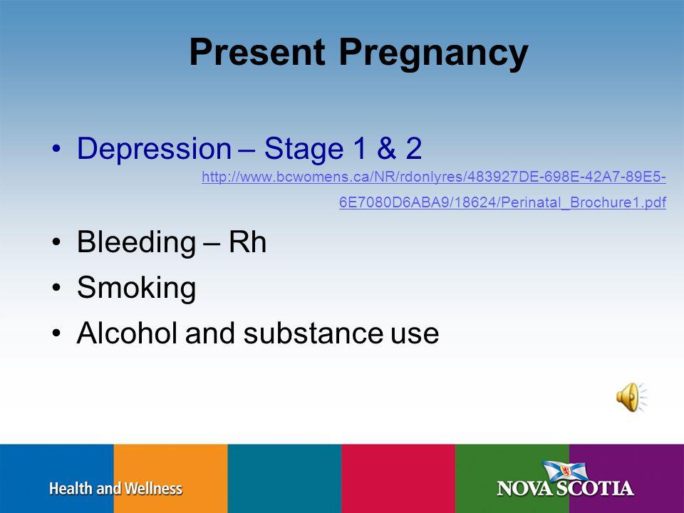 Present Pregnancy Depression/Anxiety Bleeding – Rh Smoking Alcohol & substance use
