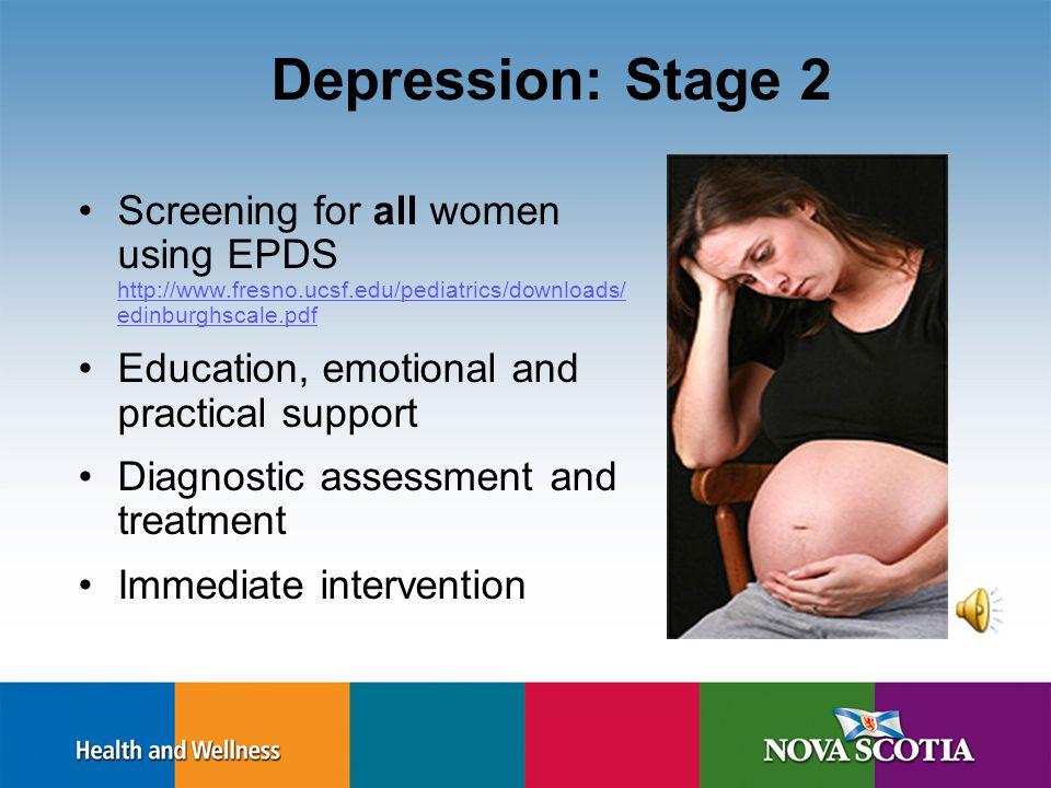 Depression: Stage 1 Asking Educating History of depression Substance use