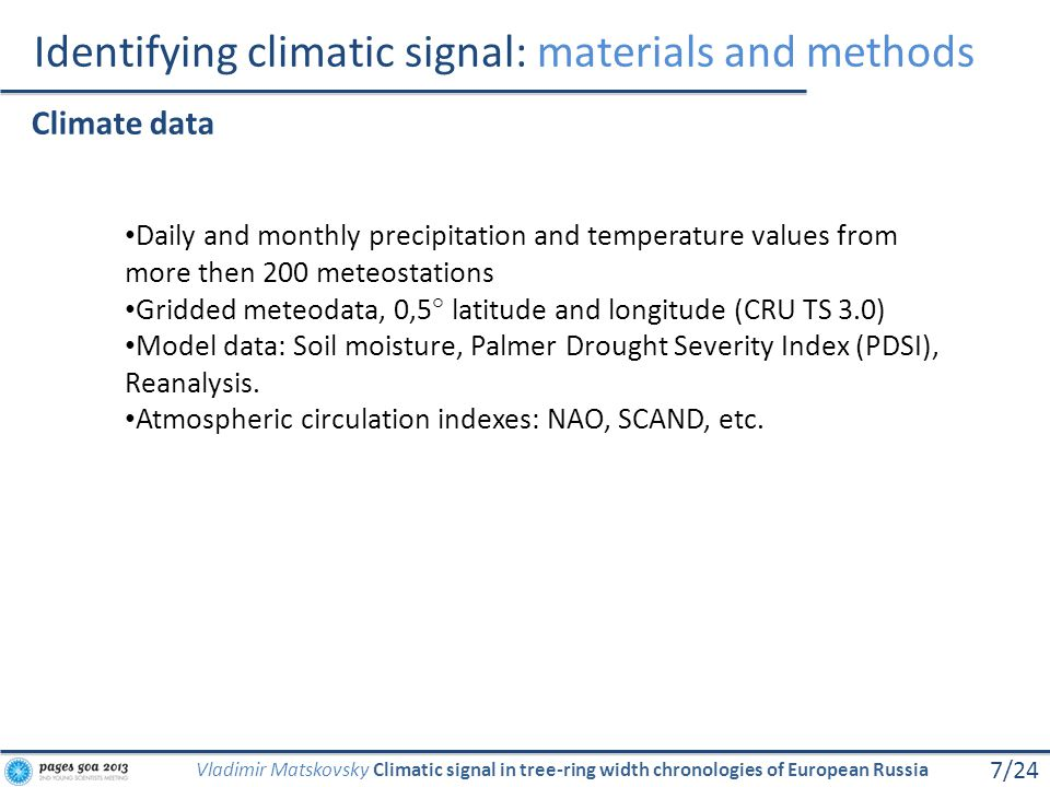 Identifying climatic signal: materials and methods 7/24 Vladimir Matskovsky Climatic signal in tree-ring width chronologies of European Russia Climate