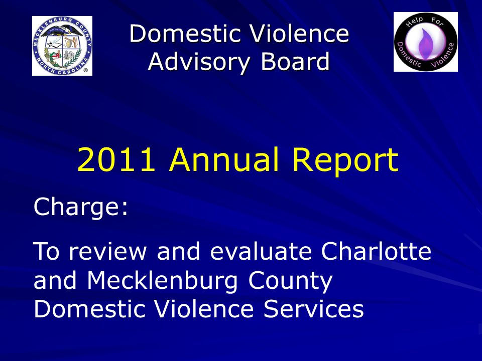 Domestic Violence Advisory Board 2011 Annual Report Charge: To review and evaluate Charlotte and Mecklenburg County Domestic Violence Services
