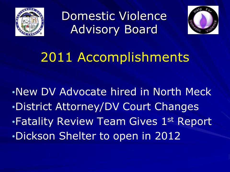 Domestic Violence Advisory Board Concerns: DV Crimes DV Homicides Domestic 911 calls DV arrests by CMPD University Students DV arrests Protection orders served