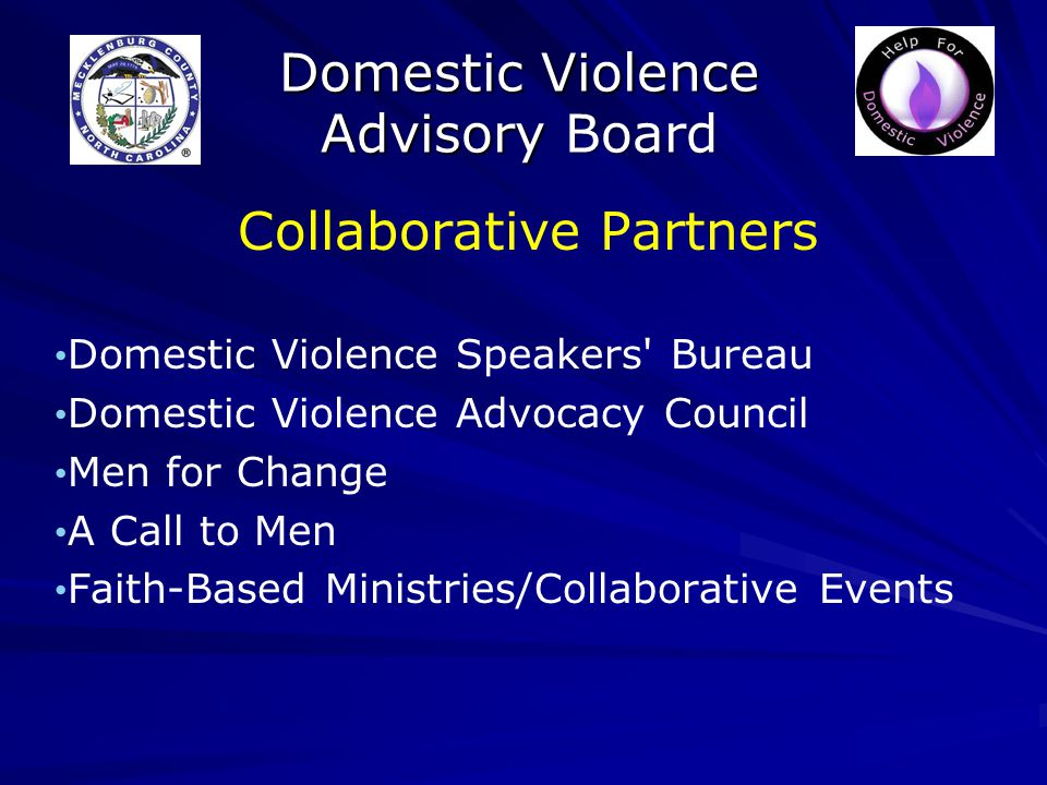 Domestic Violence Advisory Board Collaborative Partners Domestic Violence Speakers Bureau Domestic Violence Advocacy Council Men for Change A Call to Men Faith-Based Ministries/Collaborative Events
