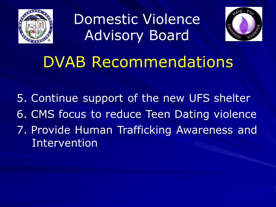 Domestic Violence Advisory Board DVAB Recommendations 5.