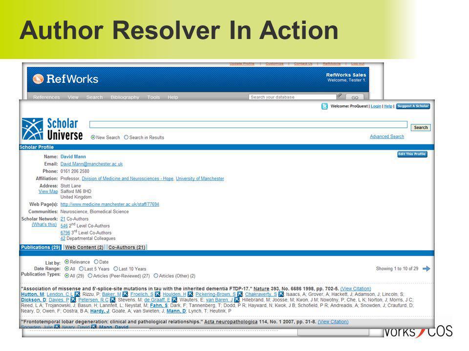 Author Resolver In Action www.authorresolver.com