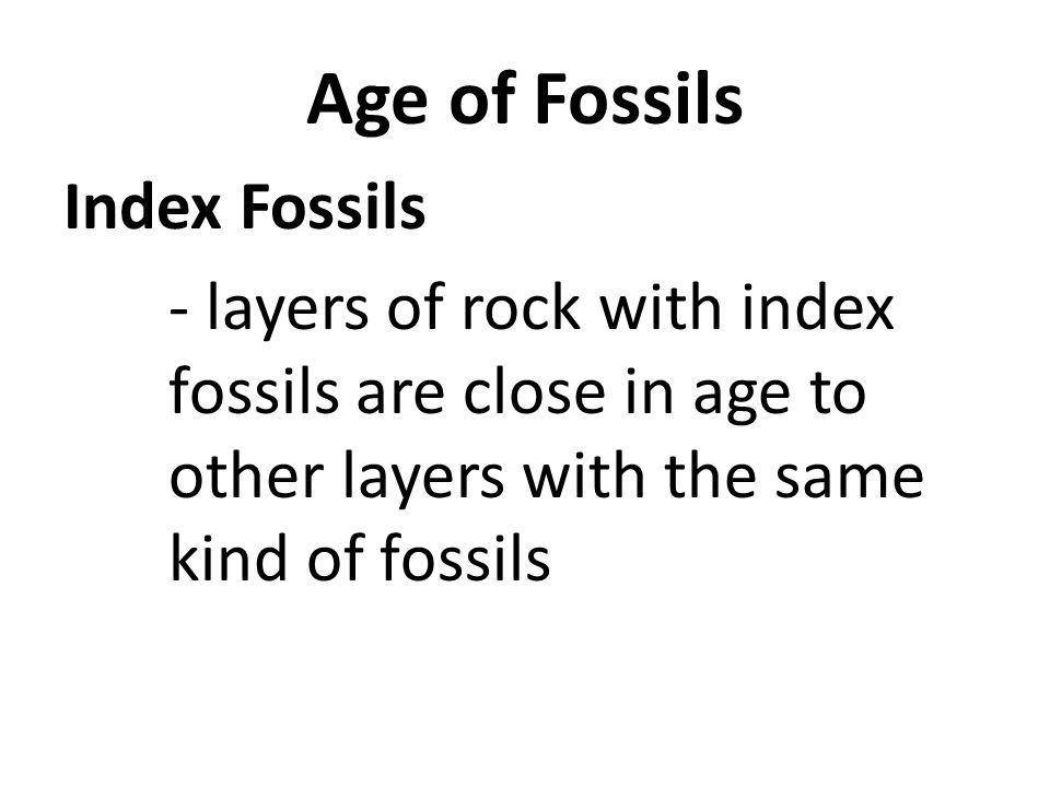 Age of Fossils Index Fossils - layers of rock with index fossils are close in age to other layers with the same kind of fossils
