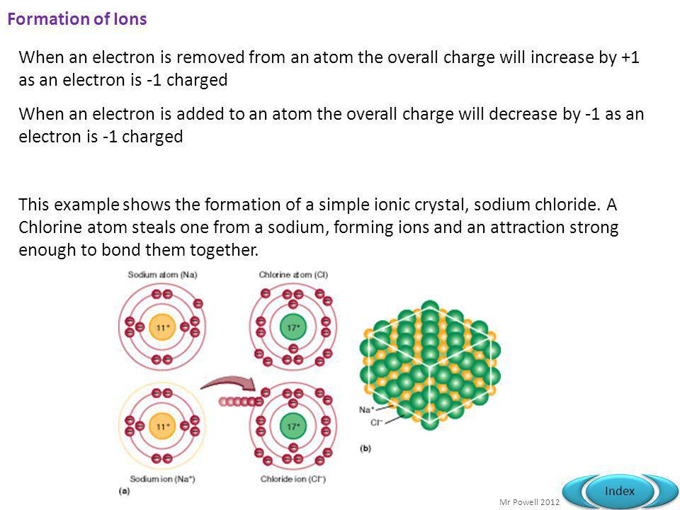 Mr Powell 2012 Index Formation of Ions When an electron is removed from an atom the overall charge will increase by +1 as an electron is -1 charged When an electron is added to an atom the overall charge will decrease by -1 as an electron is -1 charged This example shows the formation of a simple ionic crystal, sodium chloride.