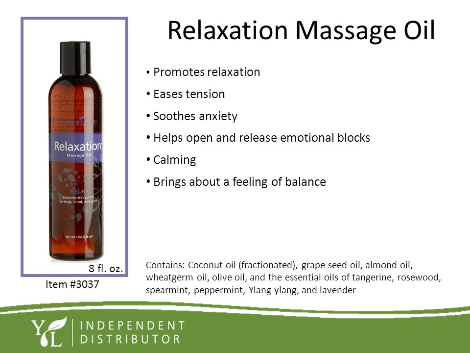 Relaxation Massage Oil Promotes relaxation Eases tension Soothes anxiety Helps open and release emotional blocks Calming Brings about a feeling of bal