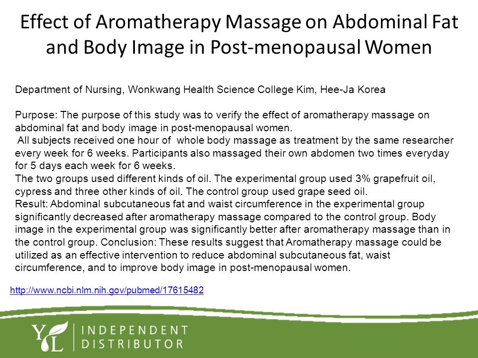Effect of Aromatherapy Massage on Abdominal Fat and Body Image in Post-menopausal Women Department of Nursing, Wonkwang Health Science College Kim, He