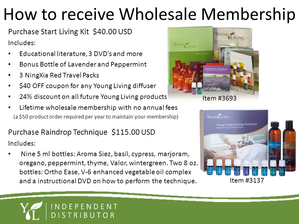 How to receive Wholesale Membership Purchase Start Living Kit $40.00 USD Includes: Educational literature, 3 DVDs and more Bonus Bottle of Lavender an