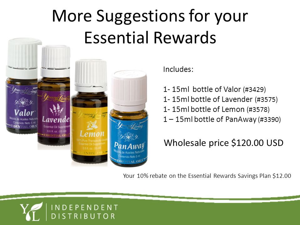 More Suggestions for your Essential Rewards Wholesale price $120.00 USD Your 10% rebate on the Essential Rewards Savings Plan $12.00 Includes: 1- 15ml
