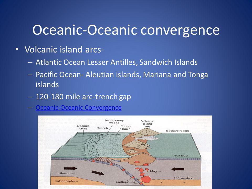 Oceanic-Oceanic convergence Volcanic island arcs- – Atlantic Ocean Lesser Antilles, Sandwich Islands – Pacific Ocean- Aleutian islands, Mariana and To