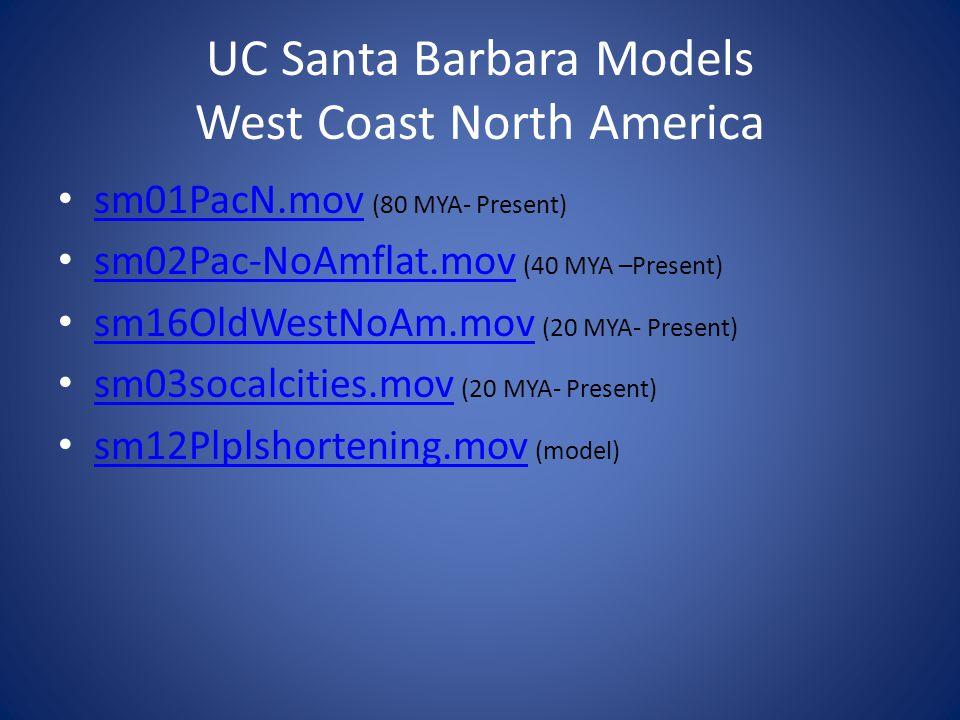 UC Santa Barbara Models West Coast North America sm01PacN.mov (80 MYA- Present) sm01PacN.mov sm02Pac-NoAmflat.mov (40 MYA –Present) sm02Pac-NoAmflat.m