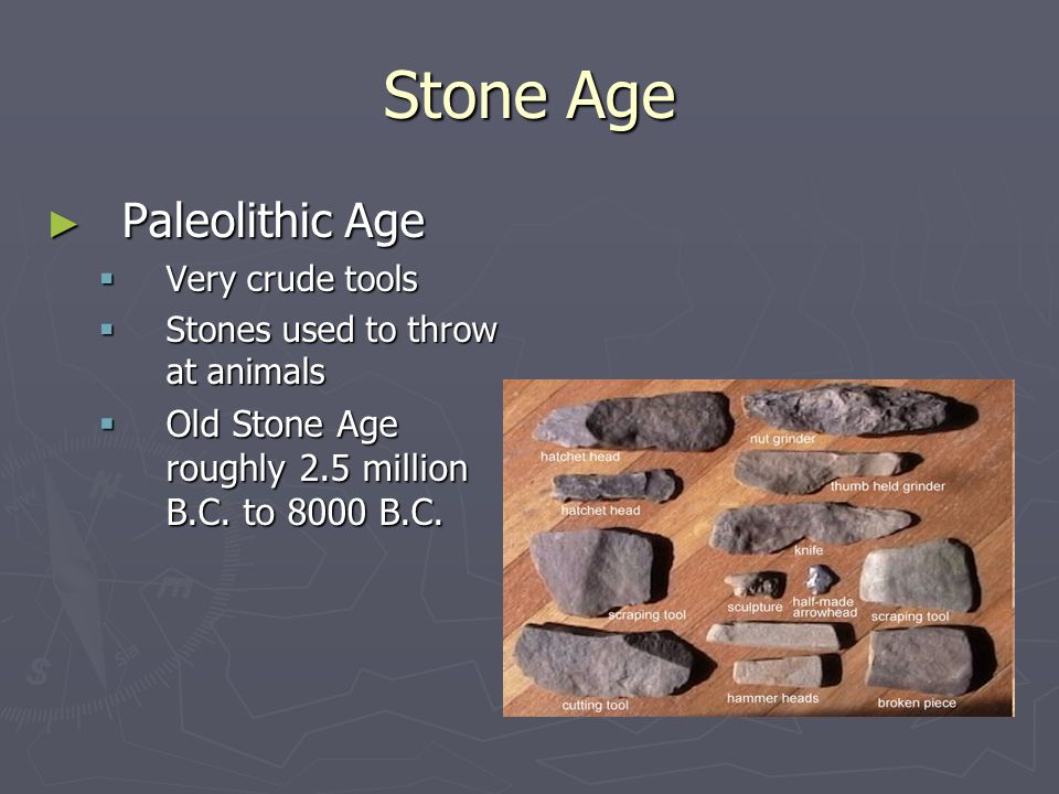 Stone Age Paleolithic Age Paleolithic Age Very crude tools Very crude tools Stones used to throw at animals Stones used to throw at animals Old Stone