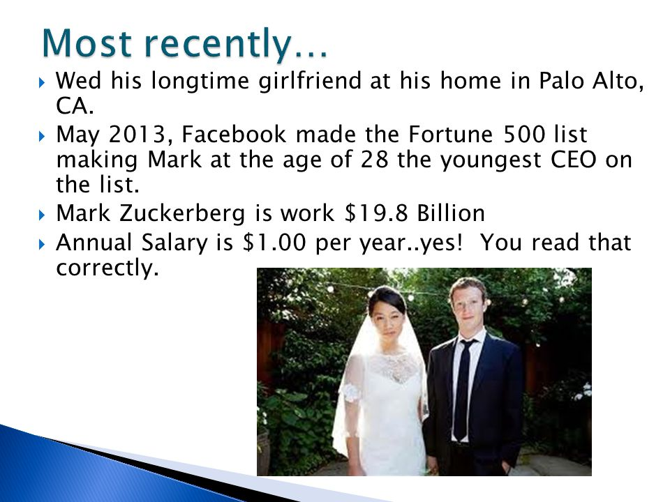Wed his longtime girlfriend at his home in Palo Alto, CA.