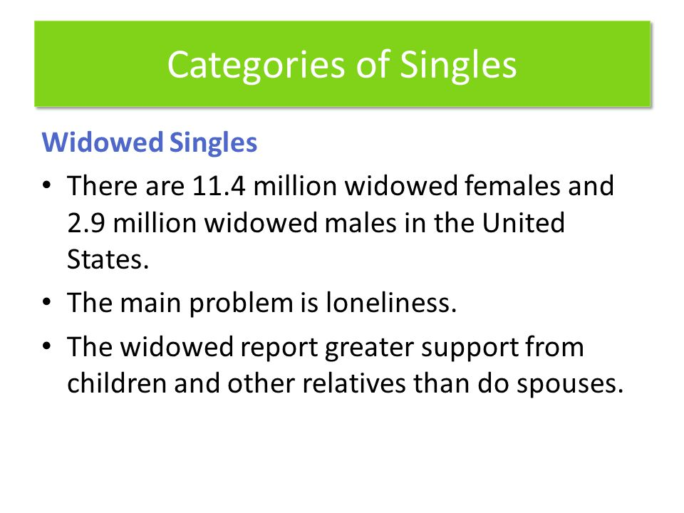 Categories of Singles Widowed Singles There are 11.4 million widowed females and 2.9 million widowed males in the United States. The main problem is l