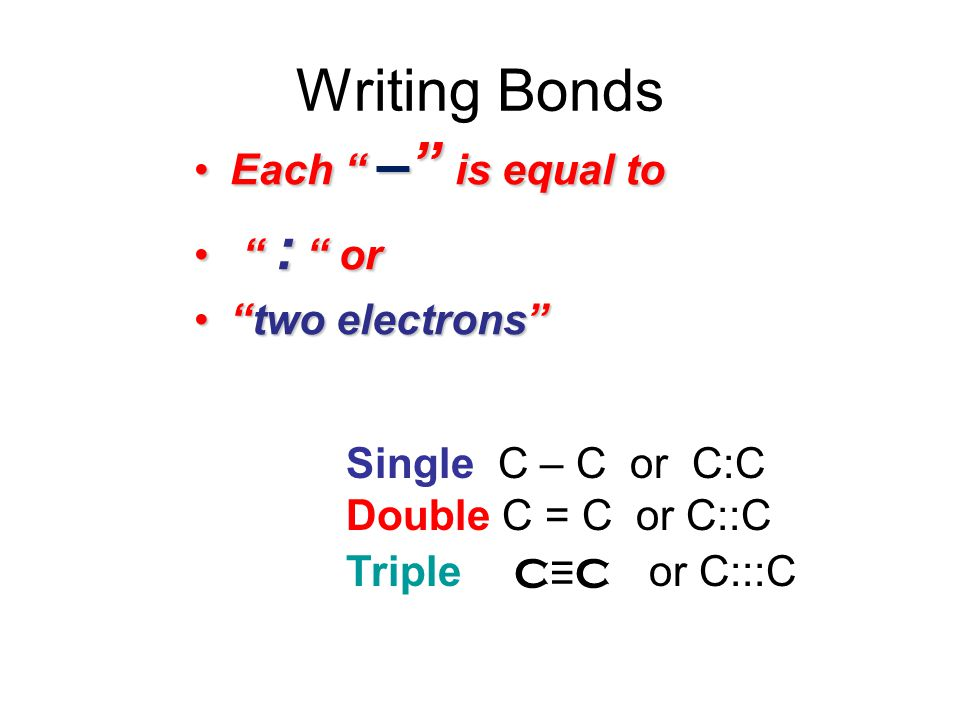 Writing Bonds Each – is equal toEach – is equal to : or : or two electronstwo electrons Single C – C or C:C Double C = C or C::C Triple or C:::C C