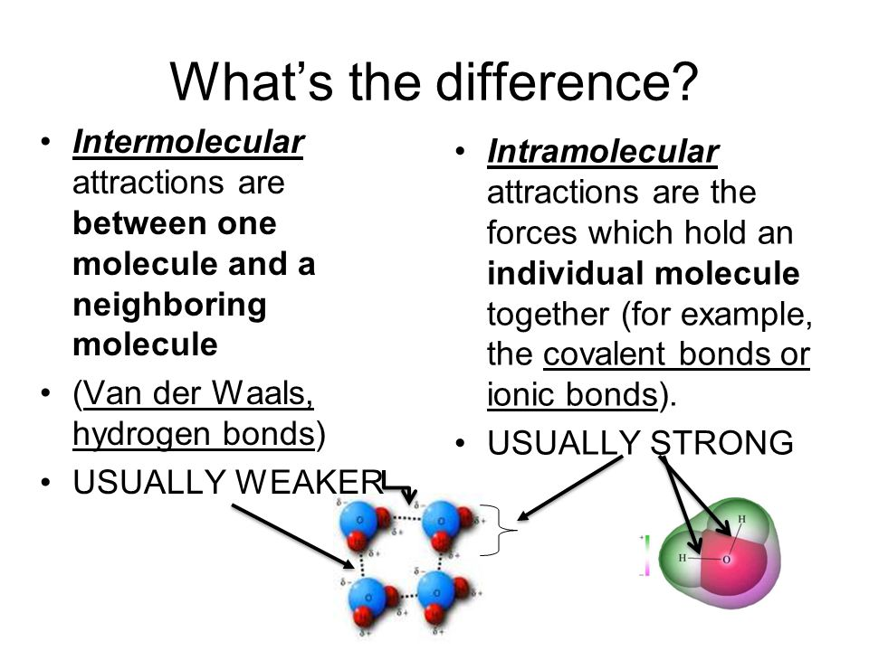 Whats the difference? Intermolecular attractions are between one molecule and a neighboring molecule (Van der Waals, hydrogen bonds) USUALLY WEAKER In