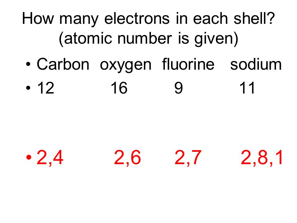 How many electrons in each shell? (atomic number is given) Carbon oxygen fluorine sodium 12 16 9 11 2,4 2,6 2,7 2,8,1